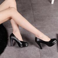 职业高跟鞋女黑色圆头防水台7-10厘米礼仪细跟裸色单根工作软皮鞋