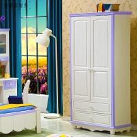 卧室松木三门衣柜田园衣橱 全实木儿童衣柜两门储物柜