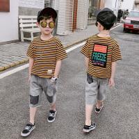 男童夏装套装儿童条纹短袖两件套男孩
