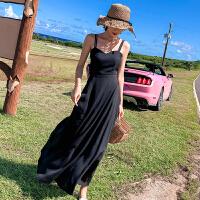 普吉岛裙子沙滩裙女海边度假泰国巴厘岛露背连衣裙超仙显瘦长裙夏 神秘黑 8513双色大摆 XS 建议(78-95)斤