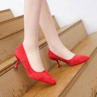 磨砂高跟鞋细跟尖头红色婚鞋猫跟5公分浅口百搭性感单鞋少女皮鞋