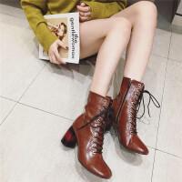 马丁靴女2018秋冬新款时尚方头粗跟高跟系带短筒女靴英伦学生女靴