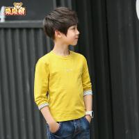 童装男童长袖T恤春装2019新款中大儿童纯色韩版打底衫