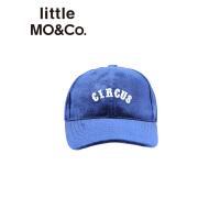 littlemoco秋季新品儿童帽子丝绒字母刺绣透气保暖棒球帽帽子