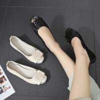 平底单鞋女夏季新款浅口圆头蛋卷鞋船鞋平底平跟大码鞋