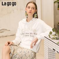 【清仓5折价179】lagogo2019春新款上衣白色套头连帽宽松百搭cec卫衣女IAEE412A02