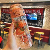 韩版创意简约字母弹盖塑料杯情侣网红吸管杯男女生户外便携水杯子宝宝幼儿园小学生防摔便携水壶