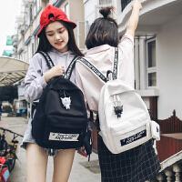 书包女韩版原宿ulzzang 高中学生背包撞色绣线字母百搭帆布双肩包