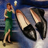 浅口尖头女鞋粗跟高跟鞋百搭工作鞋低跟单鞋女2018新款韩版小皮鞋