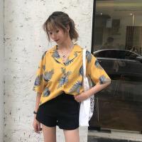衬衫 女士宽松印花短袖休闲上衣2019夏季韩版女式小清新chic复古港味半袖衬衣