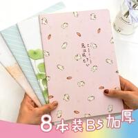 笔记本小清新简约学生语文加厚复古车线本B5线装少女韩国记事本子