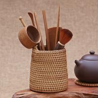藤编茶艺茶道六君子套装收纳竹茶具配件茶夹茶勺茶滤茶则茶筒