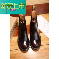 新品上市.m牛皮酒红擦色靴男套筒短靴女马丁靴皮靴
