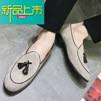 新品上市春季懒人英伦休闲小皮鞋男韩版青年豆豆鞋社会精神小伙鞋子潮
