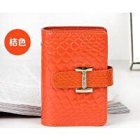 潮流时尚钱包   短款卡片包    新款韩版糖果色鳄鱼纹牛皮女士卡包