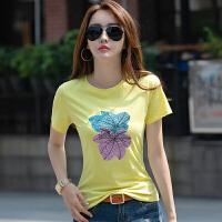 短袖女新款韩版女装上衣棉女式�B恤百搭半截袖打底t恤衫夏