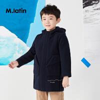【2件2.5折后到手价:299.75元】马拉丁童装男童中长款大衣冬装新品趣味印花刺绣设计儿童大衣