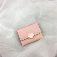 2019新款韩国少女小钱包短款新款简约复古多功能卡包折叠软皮夹迷你零钱包
