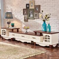 地中海创意电视柜 茶几组合 实木 伸缩小户型客厅成套简约欧式家具 组装