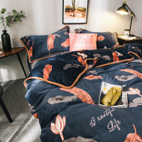 牛奶绒四件套冬季珊瑚绒床上用品法莱法兰绒三件套被套床单定制