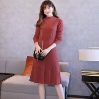 新款中长款羊绒衫女半高领套头毛衣裙修身打底针织过膝连衣裙