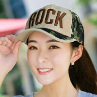 棒球帽子女夏天鸭舌帽网帽透气迷彩太阳帽韩版男士遮阳帽凉帽