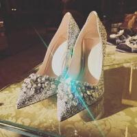 细跟高跟单鞋银色新娘婚鞋女手工2018秋季新款欧美水钻尖头鞋亮片