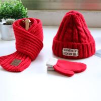 宝宝帽子围巾秋冬季小男童女孩加厚保暖帽子围脖手套三件套潮