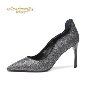 红蜻蜓旗下品牌金粉 女鞋秋冬休闲鞋鞋子女高跟鞋JGB7017