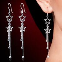 气质耳饰品女925银耳环五角星星长款流苏耳环耳坠