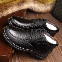 老人高帮棉鞋男冬季中老年防滑保暖羊毛爸爸皮鞋男士真皮加绒厚底