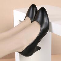 工作鞋女黑色正装高跟鞋女粗跟中跟单鞋圆头礼仪上班职业女鞋