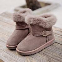 短筒雪地靴女皮毛一�w2018新款冬季�n版百搭短靴加�q面包棉鞋