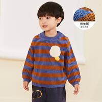 【3件7折价:160.3元】马拉丁童装男小童毛衣冬装新款仿羊绒拼接撞色圆领毛衣针织衫