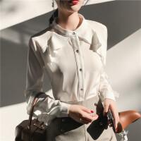 白色衬衫女春装设计感荷叶边很仙的上衣夏季修身显瘦洋气衬衣