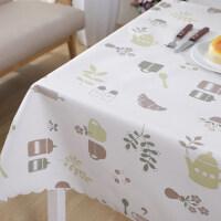 PVC桌布防水防�C防油免洗田�@小清新�L方形餐桌布ins塑料茶�鬃�|