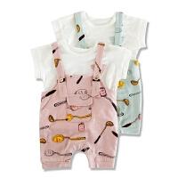 婴儿衣服夏装短袖套装儿童背带裤两件套男女宝宝0-1-2-3岁潮