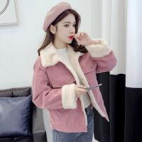 2019新款新款冬天冬季毛绒外套女韩版短款bf宽松加绒加厚棉衣服 粉红色