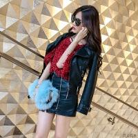 新款2018秋季女装长袖pu机车皮衣短款修身黑色皮夹克外套潮 黑色 L