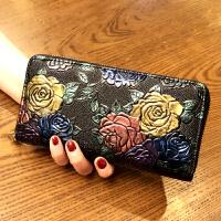 女士手拿钱包女长款新款韩版潮个性大容量复古拉链多功能皮夹