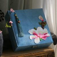 中式刺绣复古首饰盒带锁结婚礼品饰品盒小饰品收纳盒