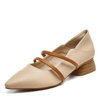 春季韩版百搭单鞋小皮鞋子女粗跟玛丽珍奶奶鞋尖头复古女鞋潮