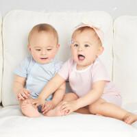【2件4折价:67.6】安奈儿童装男女童短袖连体衣2021夏新款婴幼儿和尚服新生儿爬行服