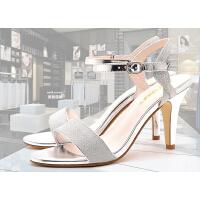 莫蕾蔻蕾凉鞋女夏高跟细跟鱼嘴 新款甜美显高浅口防水台女鞋潮