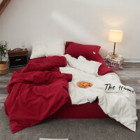 潮流个性创意情侣酒拼色水洗棉床单四件套纯棉床上用品定制