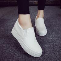 内增高懒人鞋低帮休闲鞋秋季小白鞋女松糕鞋白色帆布鞋女韩版厚底