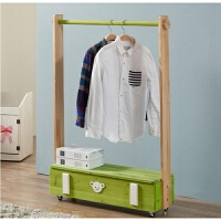 室内晾衣架卧室实木 实木衣架卧室简约松木衣帽架可移动落地挂衣架衣服架 加盖宽120深20高120 绿色