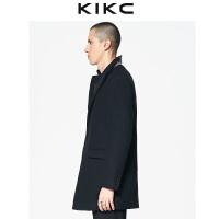【3折价:539.7】kikc毛呢大衣男2018秋季新款韩版黑色时尚西装领加厚休闲长袖外套