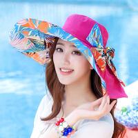 沙滩帽子 太阳帽女士春夏天遮阳帽防晒帽遮脸韩版可折叠凉帽