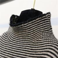 秋冬条纹打底高领针织衫宽松腰吊带毛线连衣裙毛衣两件套装女 图片色【一套】 均码